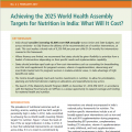 Achieving the 2025 World Health Assembly Targets for Nutrition in India: What Will It Cost?